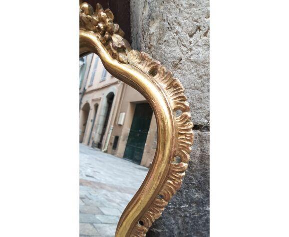 Miroir classique Louis XV bois doré 80 cm