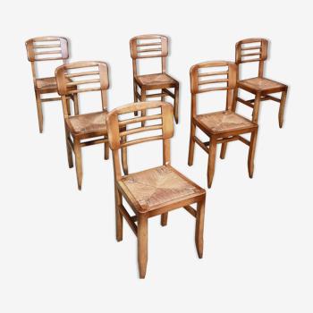 Lot de 6 chaises paille Pierre Cruege