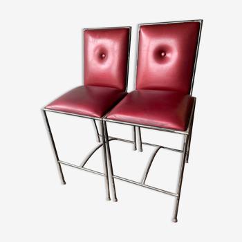 Lot de 2 tabourets avec dossier de table à manger - designer chantal peyrat