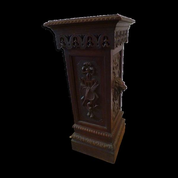Selency Sellette console en bois sculpté ornementé de mascarons fin XIXe
