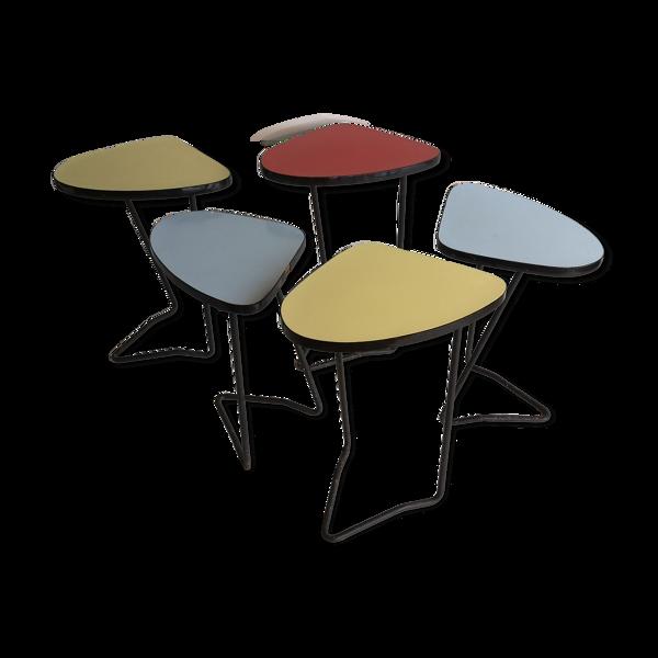Selency Lot de 5 table consoles d 'appoint formica et métal années 50