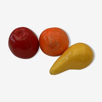 3 fruits en céramique vintage