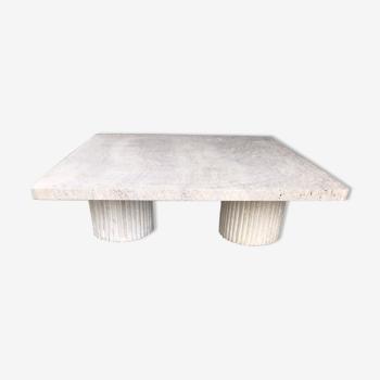 Natural travertine square coffee table