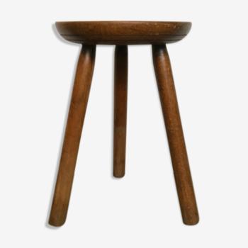Tabouret tripode ancien en bois