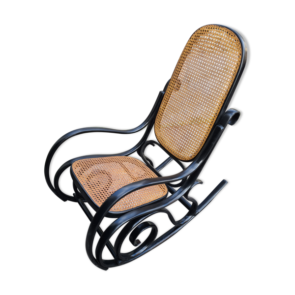 Rocking chair noir avec cannage