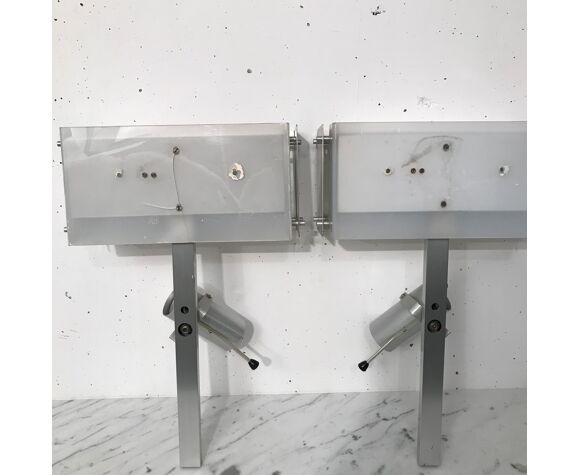 Paire d'appliques aluminium 1970