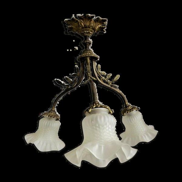 Lustre français art nouveau bronze 3 lumière semi flush lustre blanc opaque nuances