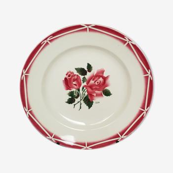 Plat Digoin Sarreguemines Cibon rose pochoir vintage