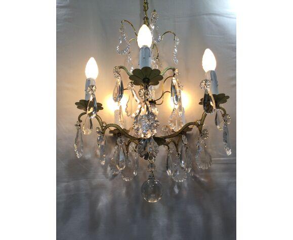 Lustre 5 lumières bronze et cristal