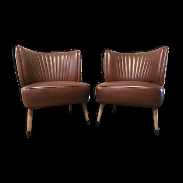 Ensemble de 2 chaises cocktail vintage sièges club / sièges simples