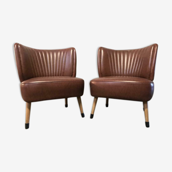 set of 2 vintage cocktail chairs / club seats / single seats