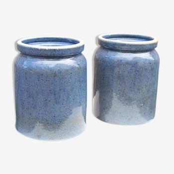 3 pots en grès émaillé