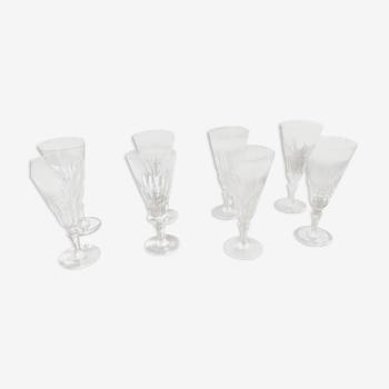 Lot de 8 flûtes à champagnes Baccarat modèle Picadilly