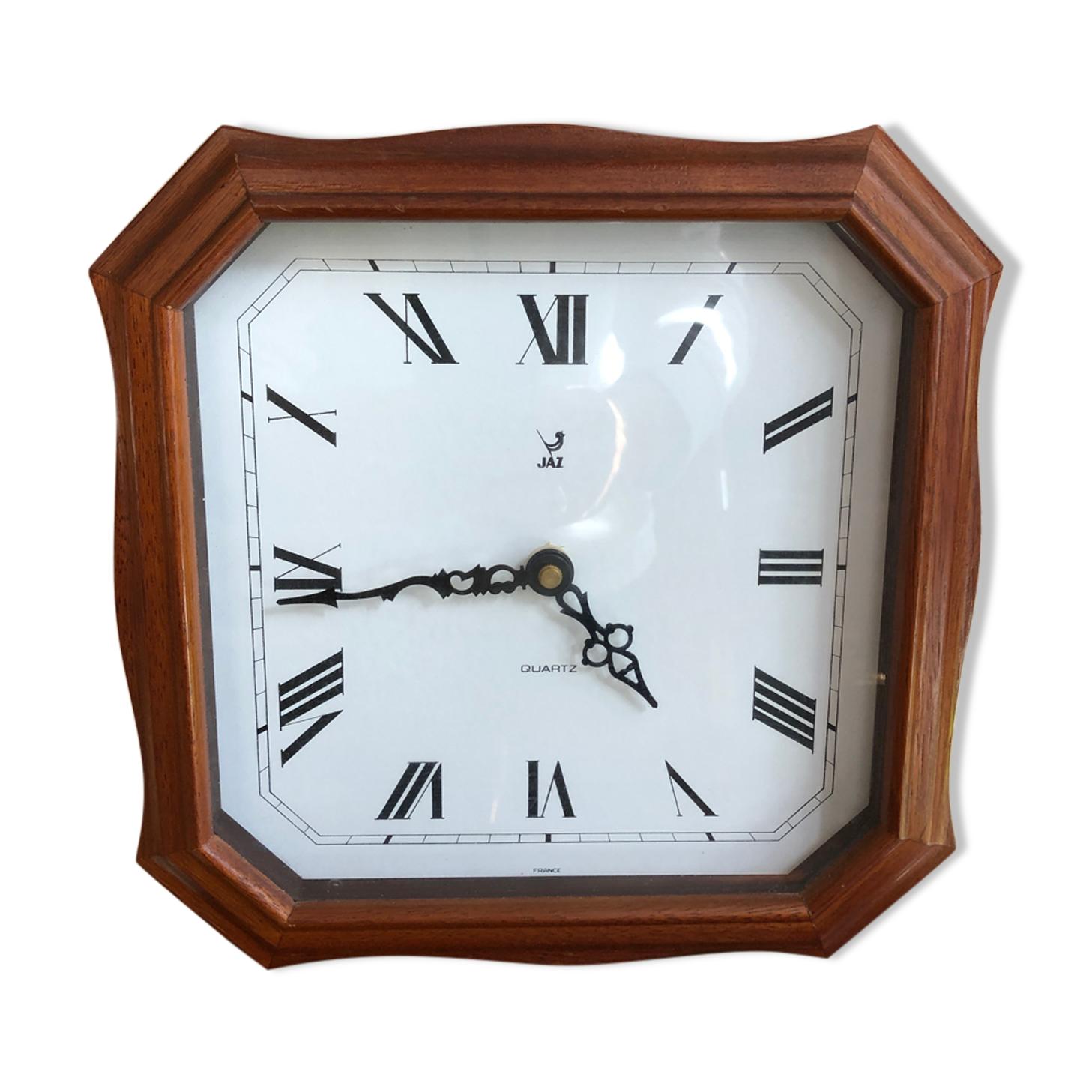 Ancienne pendule horloge jaz quartz contour bois vintage