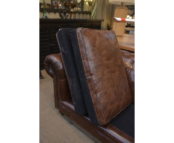 Chesterfield sofa 4 seats in brown leather 1980