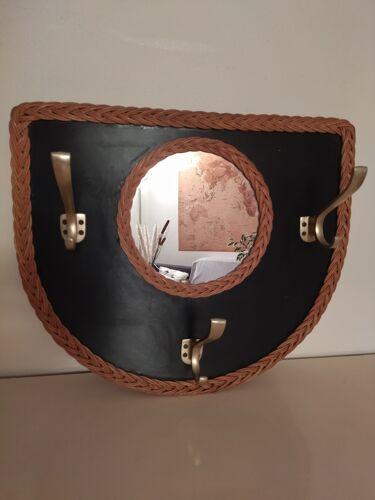 Mirror coat rack, wicker