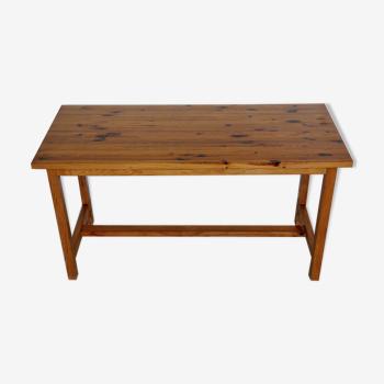 Table en bois massif de pin vintage, années 1970