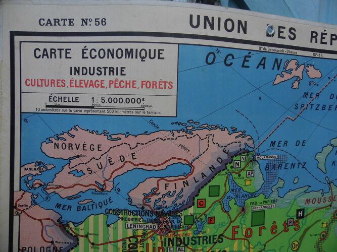 """Carte de géographie d'école,carte double  """"l'URSS"""""""