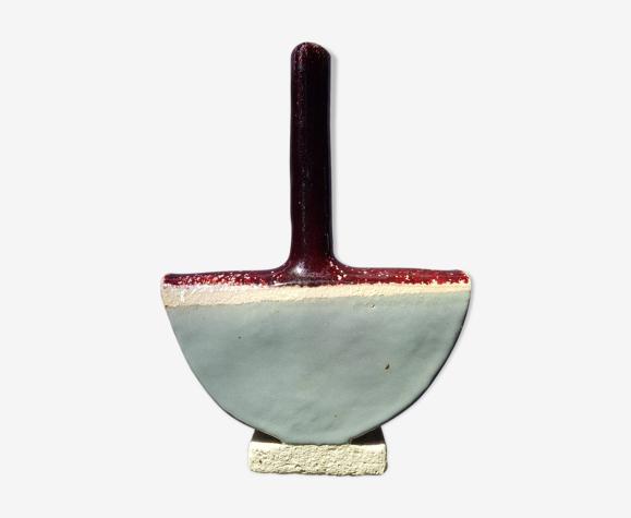 Ancien vase soliflore céramique émaillée demi cercle signé vintage