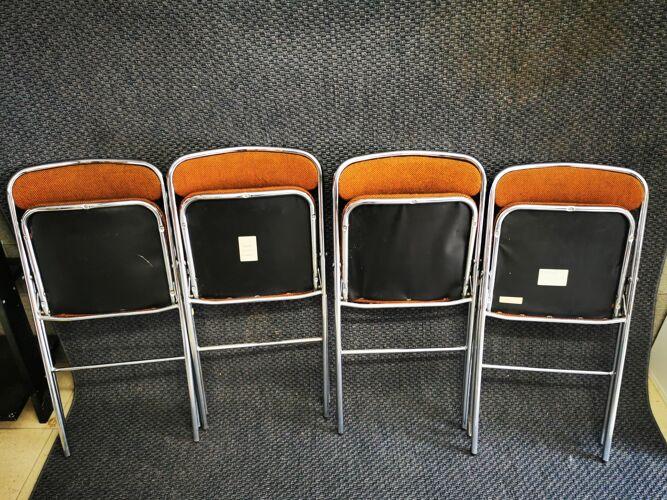 Lot de 4 chaises marrons vintage pliantes sauvignet