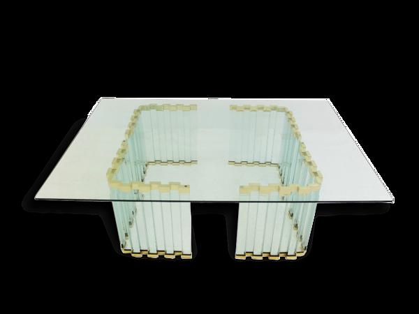 Table basse en verre et métal doré