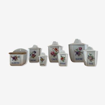 7 pots à épices en céramique motif floral