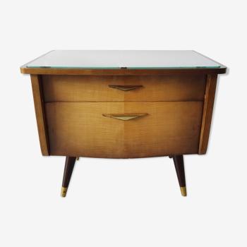 Table de chevet des années 1950 avec tiroir et compartiment, petite poitrine de tiroirs, armoire de chevet avec b foncé