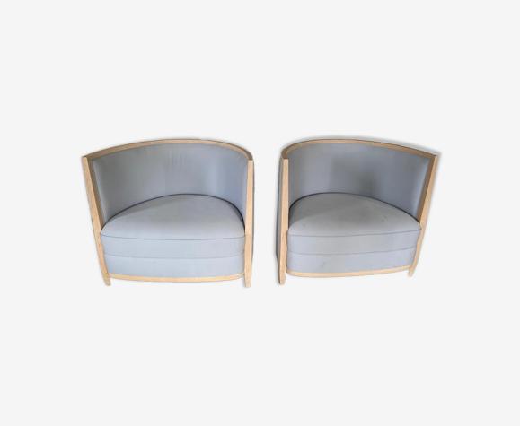 Paire de fauteuils bleu ciel Clair de Jour d'André Putman édité par Ecart International