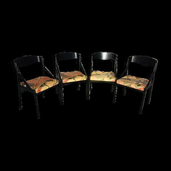 Selency Suite de 4 chaises Baumann en tissu année 80