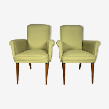 Paire de fauteuils vintages scandinaves 1960 vert