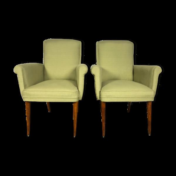 Selency Paire de fauteuils vintages scandinaves 1960 vert