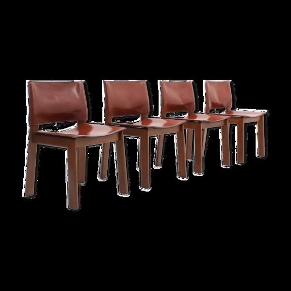 Lot de 4 chaises de salle à manger en cuir Gavina cognac années 1970