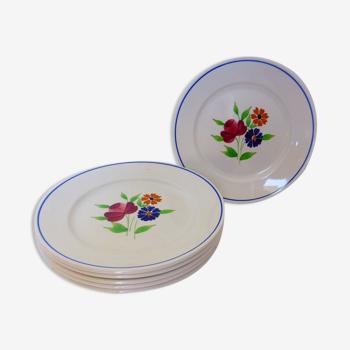 Lot de 6 assiettes plates vintage de la manufacture de Badonviller en porcelaine