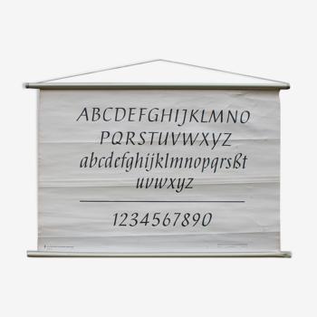Vieille carte scolaire alphabet 102 x 67 cm