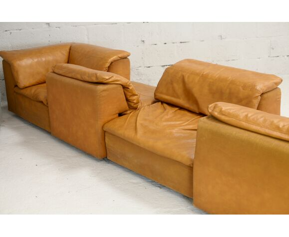 Canapé modulable 5 chauffeuses, mousse et simili-cuir, France, circa 1970