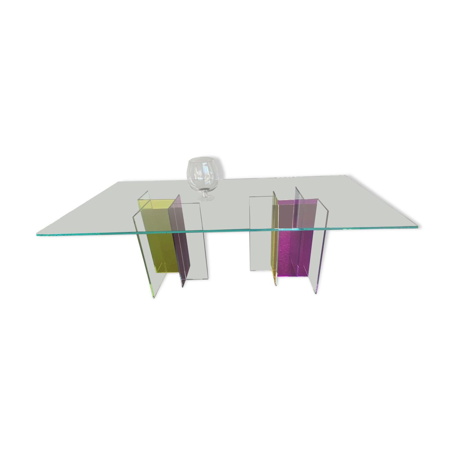 Table salle a manger Roche Bobois diapo verre 210 x110