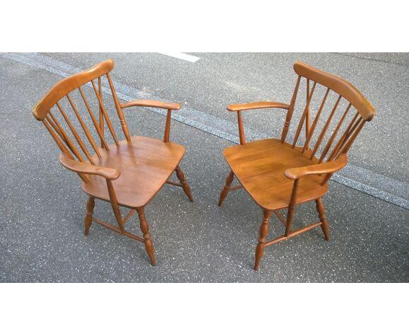 Banquette et fauteuils à barreaux orme massif 1970