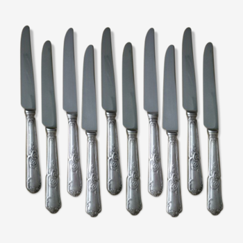 10 silver metal table knives Louis XV style