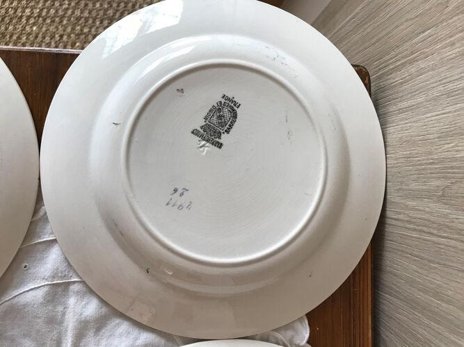 Lot de 8 assiettes Creuses Digoin Sarreguemines numérotées 4911