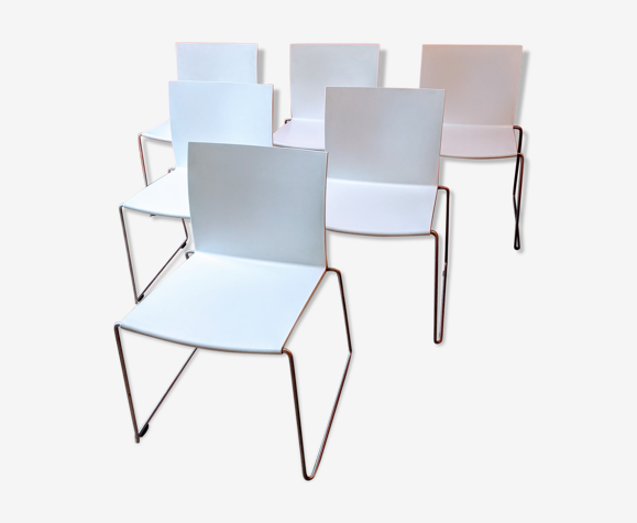 Set de 6 chaises empilables M1 blanches polypropylène & inox satiné – Design: Piergio Cazzaniga -MDF Italia