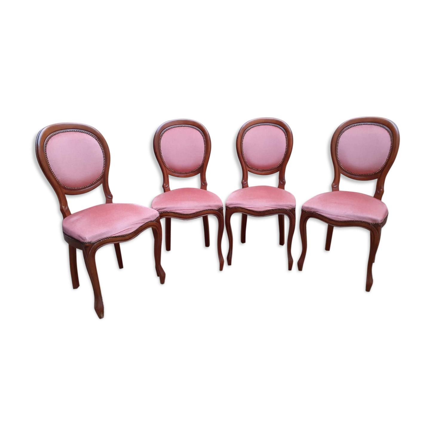 Lot de 4 chaises médaillon de style Louis Philippe