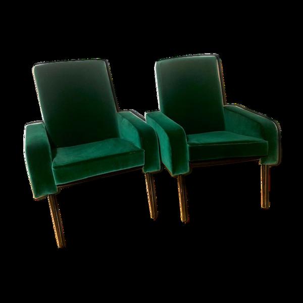 Selency Paire de fauteuils velours vert pieds metal