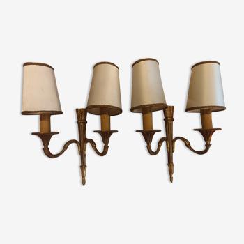 Paire d'appliques chandelier en métal doré