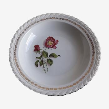 Plat rond creux en faïence  l'amandinoise motifs roses roses diam 28 cm