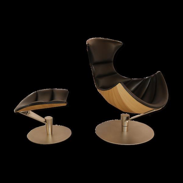 Selency Fauteuil 'Lobster chair' & ottoman conçu par Lund & Paarmann pour BruunMunch - Danemark