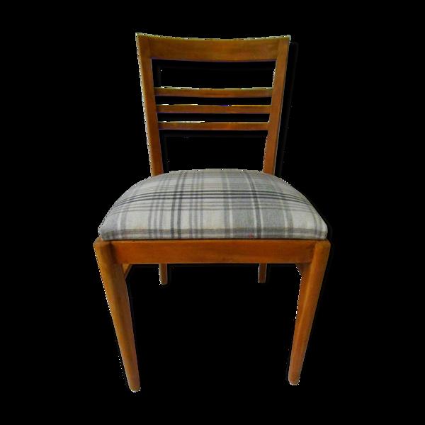 Chaise vintage en chêne tapissée de lainage écossais