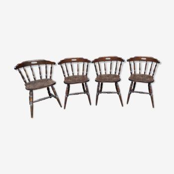 Belle série de 4 anciennes chaises Style western