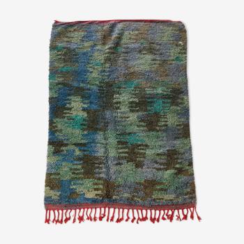 Tapis berbère marocain Boujaad camouflage bleu et bordure rouge 228x158cm