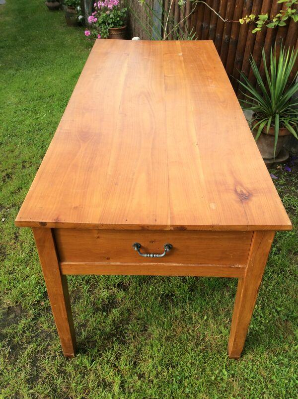 Table de ferme ancienne à 3 tiroirs en cerisier