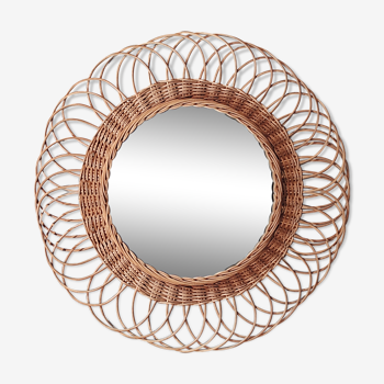 Mirror sun vintage flower in rattan wicker